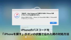 iPhoneのパスコードを「iPhoneを探す」がオンの状態で忘れた時の対処方法
