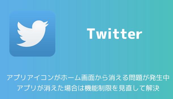【Twitter】アプリアイコンがホーム画面から消える問題が発生中 アプリが消えた場合は機能制限を見直して解決