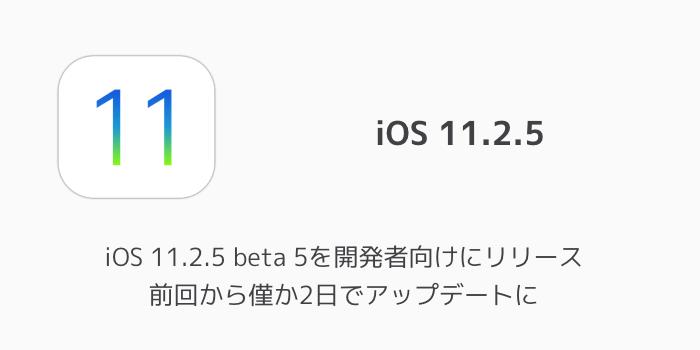 【ベータ版】iOS 11.2.5 beta 5を開発者向けにリリース 前回から僅か2日でアップデートに
