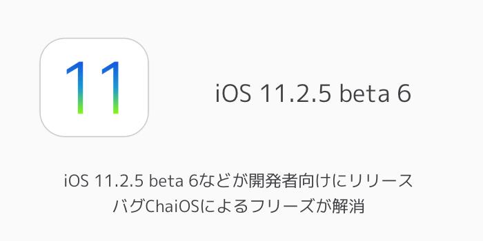 【ベータ版】iOS 11.2.5 beta 6などが開発者向けにリリース バグChaiOSによるフリーズが解消