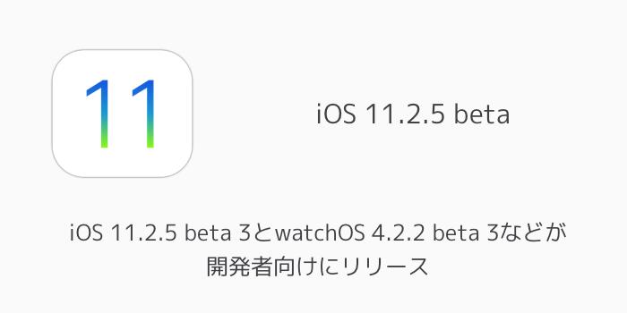 【ベータ版】iOS 11.2.5 beta 3とwatchOS 4.2.2 beta 3などが開発者向けにリリース