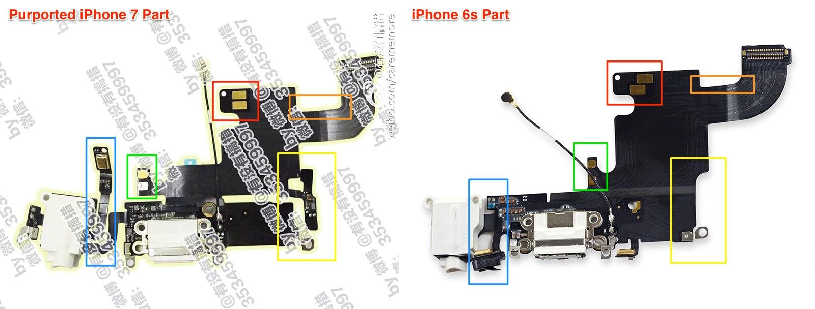 左:iPhone 7らしきもの 右:iPhone 6s