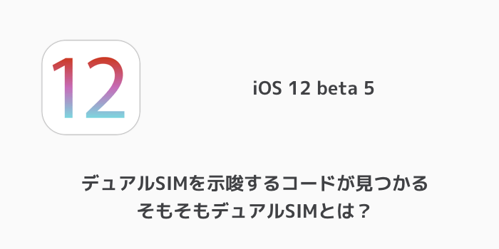 【iPhone】iOS 12 beta 5でデュアルSIMを示唆するコードが見つかる そもそもデュアルSIMとは?