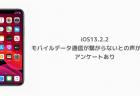 iOS13.2.2でモバイルデータ通信が繋がらないとの声が挙がる アンケートあり