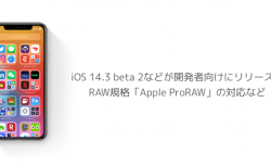 【iPhone】iOS 14.3 beta 2などが開発者向けにリリース、RAW規格「Apple ProRAW」の対応など